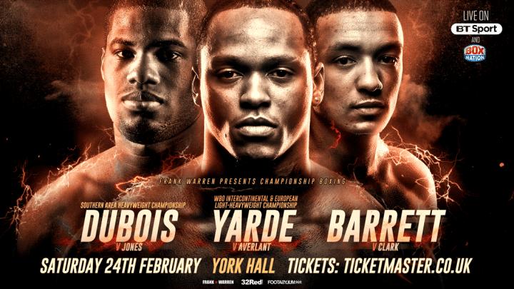 Yarde vs. Averlant  - Feb. 24 - London @ London | London | England | United Kingdom