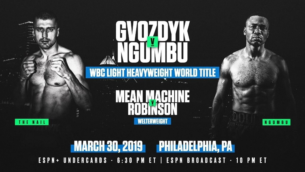 Gvozdyk vs  Ngumbu – March 30 – Philadelphia @ 2300 Arena in Philadelphia | Philadelphia | Pennsylvania | United States