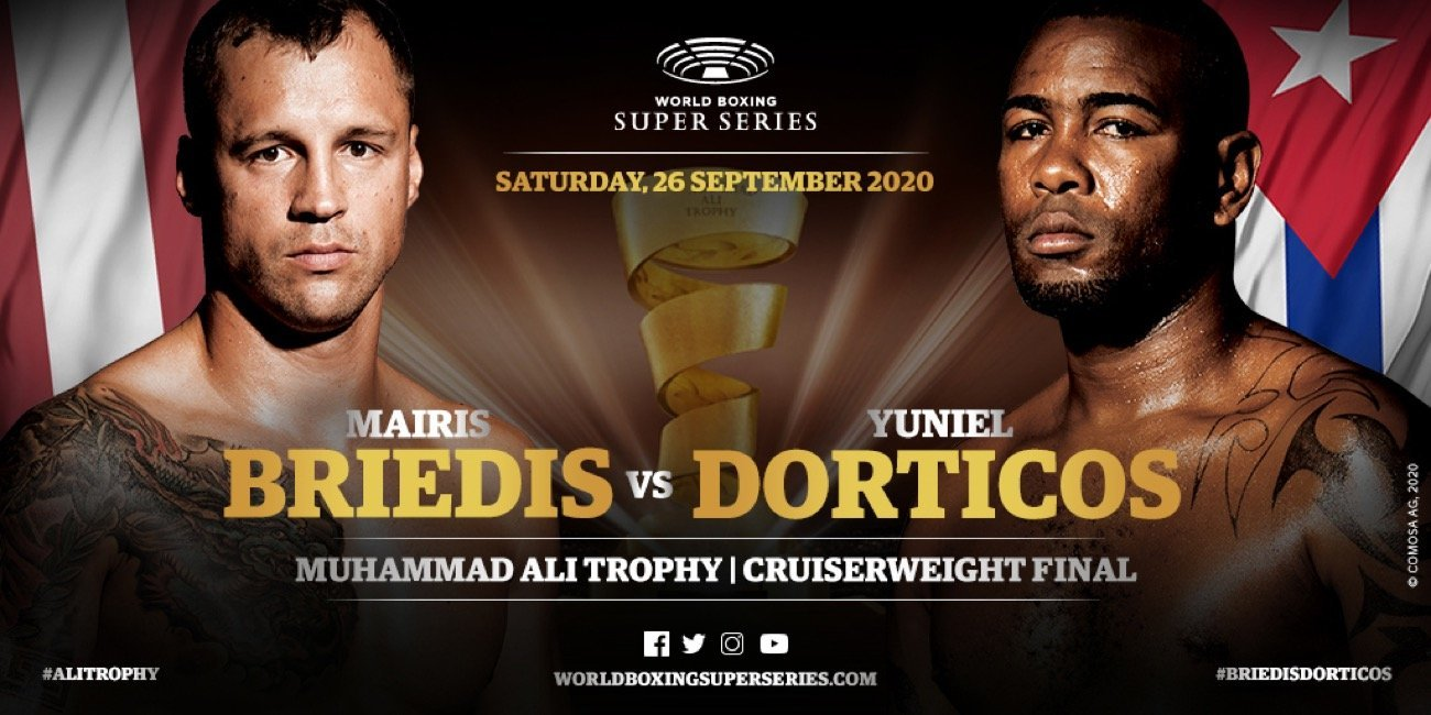 The hotly-anticipated World Boxing Super Series Season II Cruiserweight Final between Mairis Briedis and Yuniel Dorticos takes place behind-closed-doors in Munich, Germany on Saturday, 26 September 2020. Watch the fight live on DAZN in the U.S. & Canada, Sky Sports in the UK, and Bildplus in Germany.