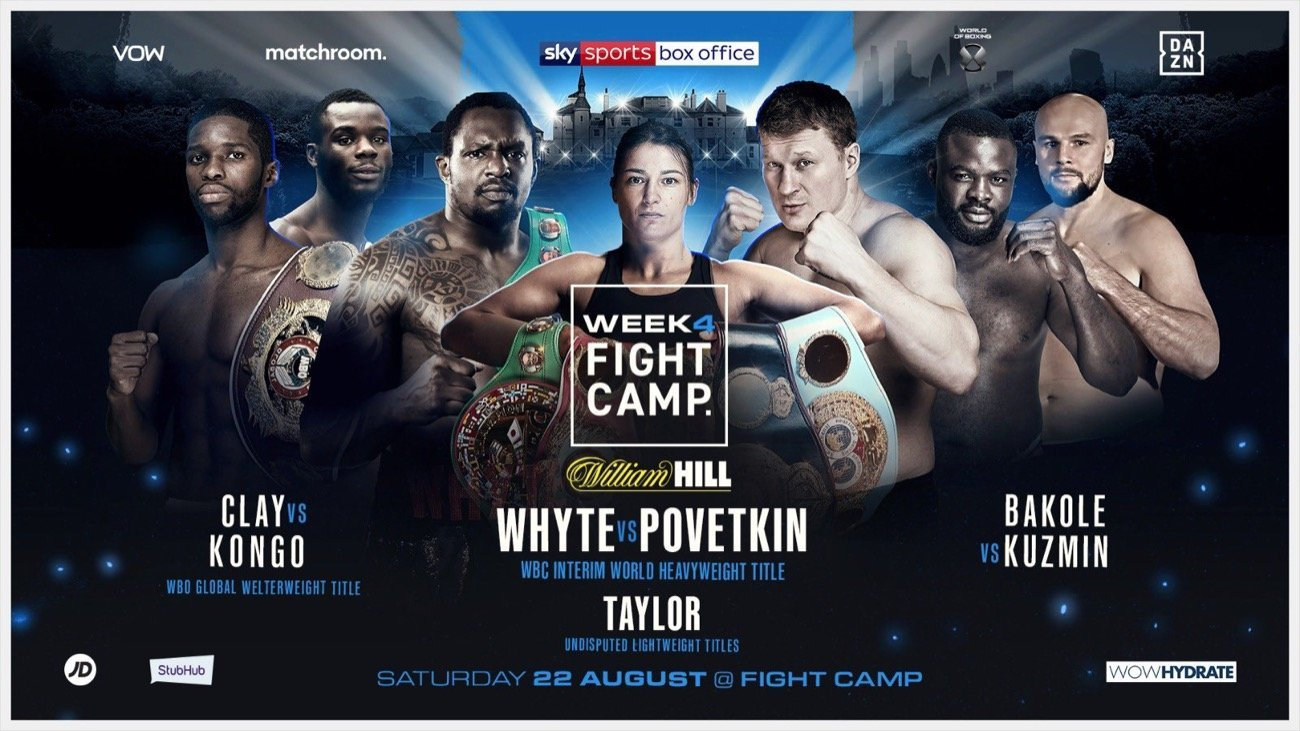 Whyte vs Povetkin - DAZN, Sky Box Office - Aug. 22 @ Matchroom Fight Camp, Brentwood