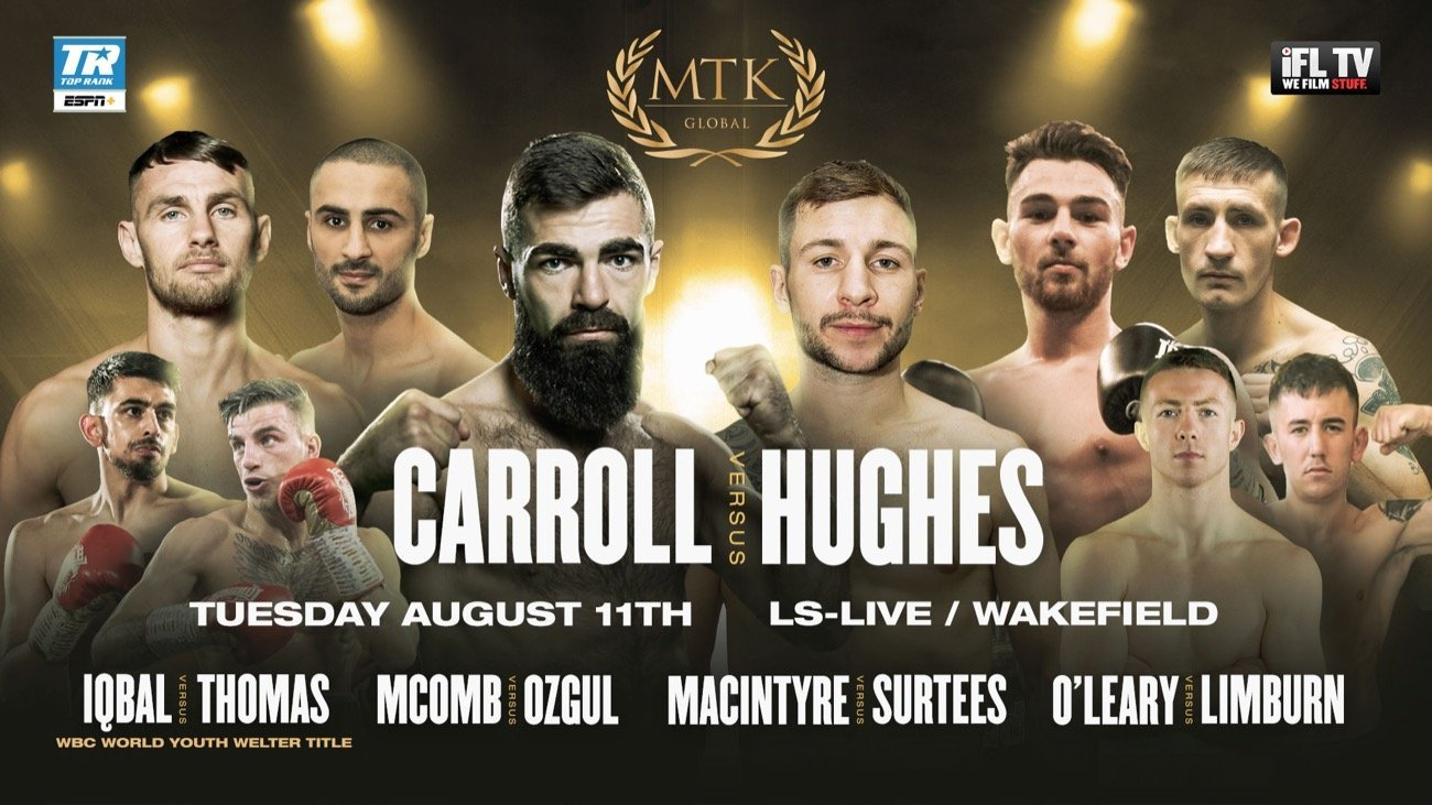 World title challenger Carroll (18-1-1, 4 KOs) takes on Hughes (20-5-2, 4 KOs) in the main event of a massive #MTKFightNight at the LS-Live in Wakefield on August 12, live in the US on ESPN+ in association with Top Rank and worldwide on IFL TV.