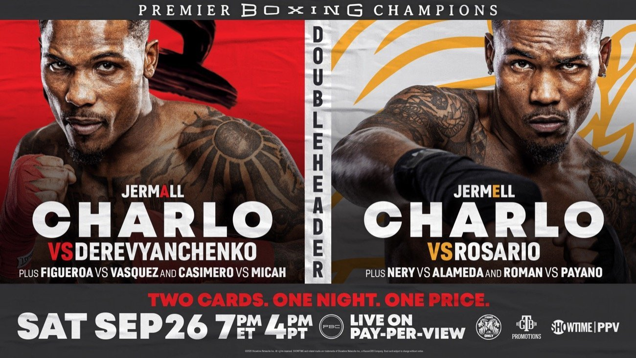 WBC Super Welterweight World Champion Jermell Charlo takes on WBA and IBF 154-pound world champion Jeison Rosario in a blockbuster unification showdown on Saturday, September 26 in part two of a first-ever SHOWTIME PPV boxing doubleheader presented by Premier Boxing Champions.