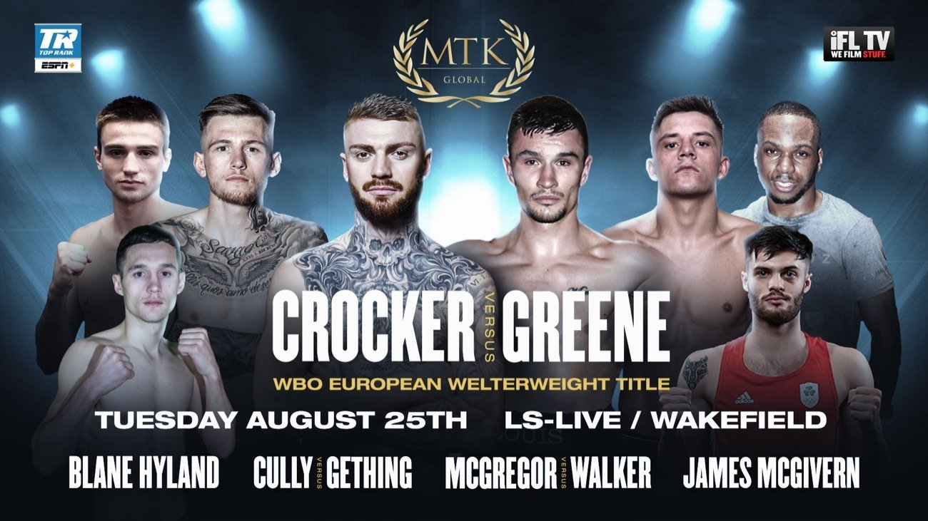 Crocker vs Greene - ESPN+ - Aug. 25 @ LS-LIVE in Wakefield | South Kirkby | England | United Kingdom