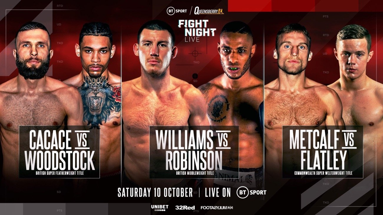 FRANK WARREN WILL serve up a treble of top title action on October 10, live on BT Sport, featuring soon-to-be world middleweight title challenger Liam Williams, British welterweight champion Anthony Cacace and Commonwealth super welterweight ruler JJ Metcalf.