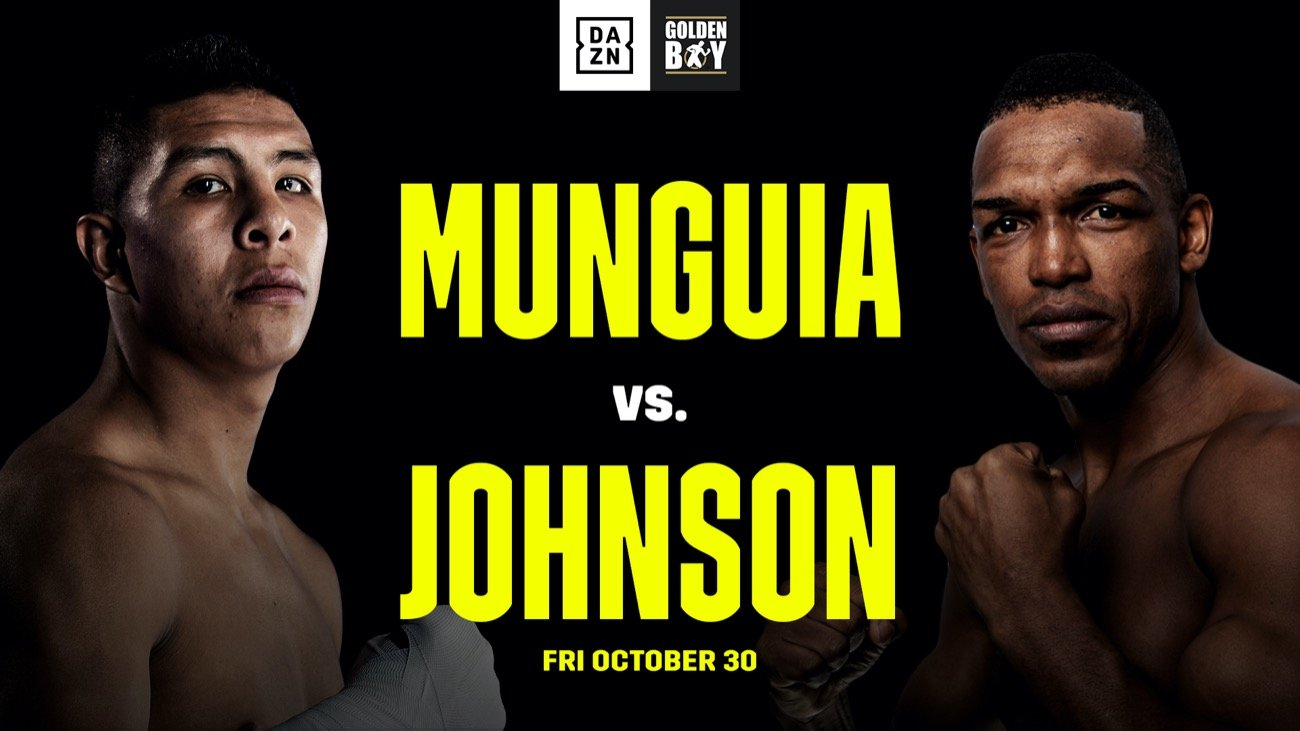 Mexico's rising middleweight star Jaime Munguia (35-0, 28 KOs) will return to the ring to defend his WBO Intercontinental Middleweight Championship against Tureano Johnson (21-2-1, 15 KOs) in a 12-round battle on Friday, October 30 at Fantasy Springs Resort Casino. The fight will be streamed live exclusively on DAZN.
