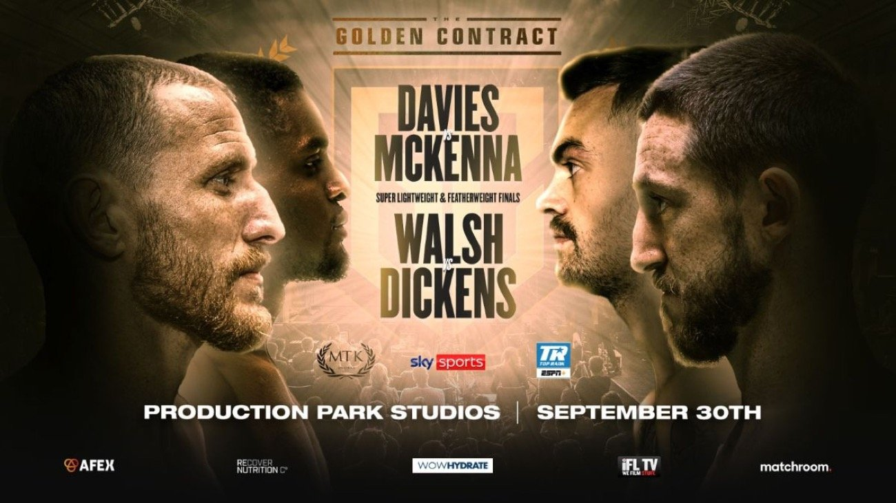 Ryan-Walsh-James Dickens (featherweight) and Ohara Davies-Tyrone McKenna (super lightweight) to stream beginning at 2 p.m. ET/11 a.m. PT