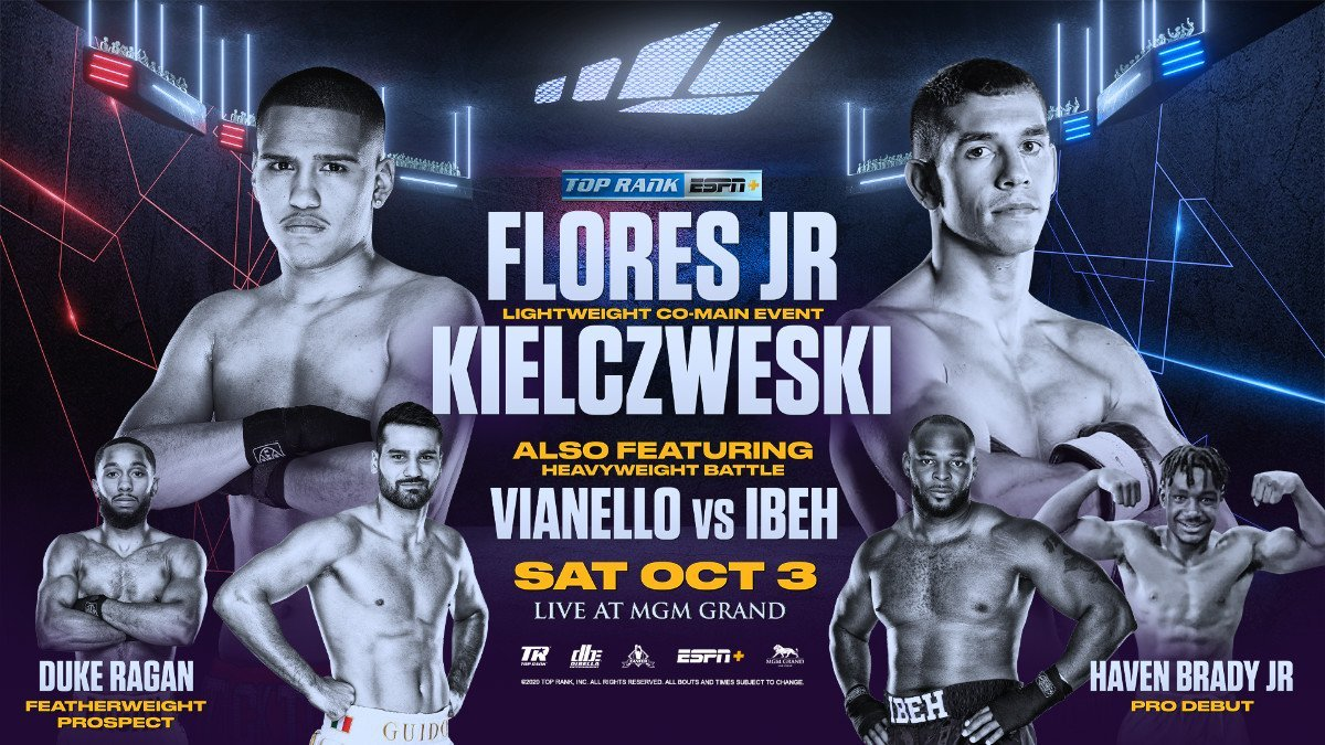 Flores Jr. vs  Kielczweski - ESPN+ - October 3 @ MGM Grand Las Vegas | Las Vegas | Nevada | United States