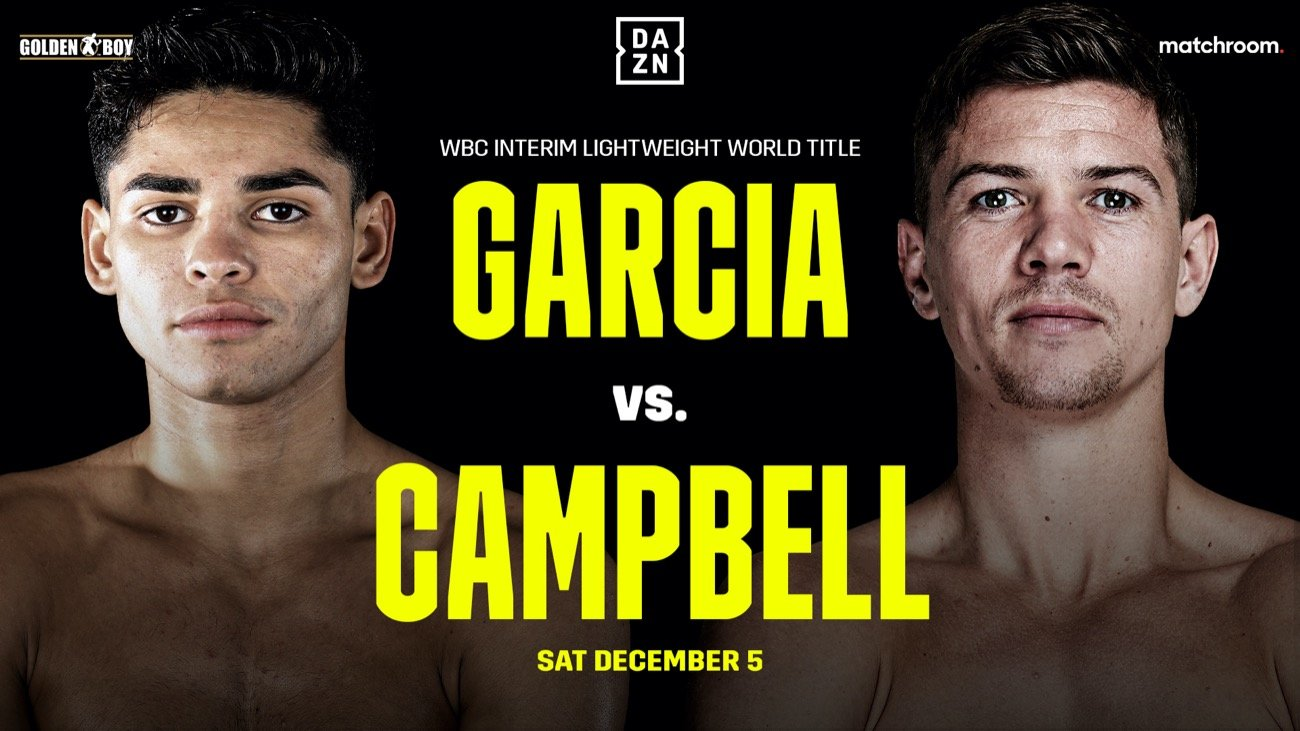 : The highly anticipated lightweight showdown between Ryan Garcia (20-0, 17 KOs) and Luke Campbell (20-3, 16 KOs) will now take place on Saturday, Jan. 2, 2021. The fight, which will be for the interim WBC Lightweight World Championship, will be streamed live exclusively on DAZN.